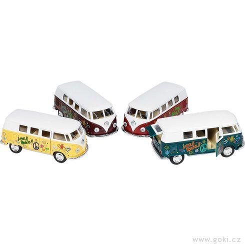 Volkswagen Classic Bus(1962), autobus klasik spotiskem, zpětné natahování, měřítko 1:32 - Goki