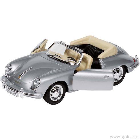 Porsche 356B Cabriolet, volnoběh, měřítko 1:24 - Goki
