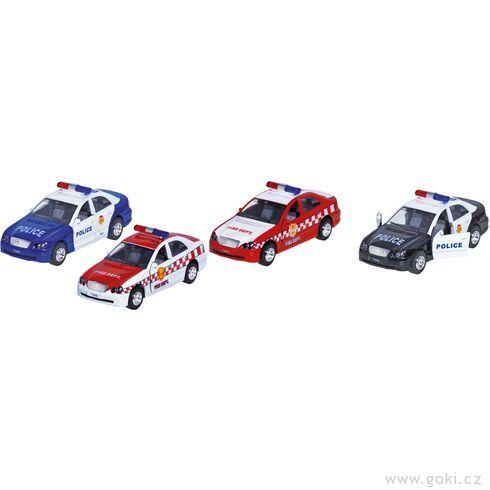 Policie ahasiči, autíčka sezpětným natahováním, světelná azvuková siréna - Goki