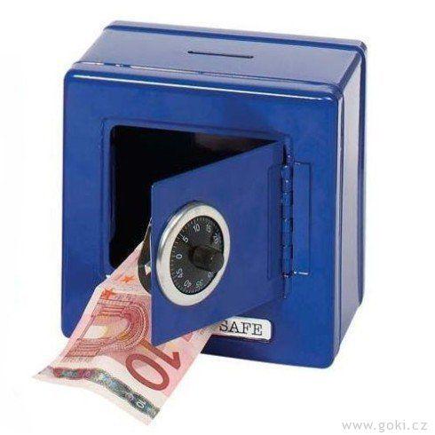 Plechová pokladnička – Trezor modrý - Goki