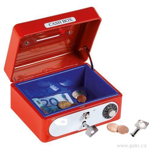 Plechová pokladnička naklíček – Trezor červený - Goki