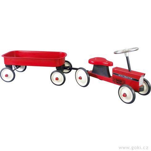 Odrážedlo – odstrkovadlo traktor svozíkem agumovými koly - Goki