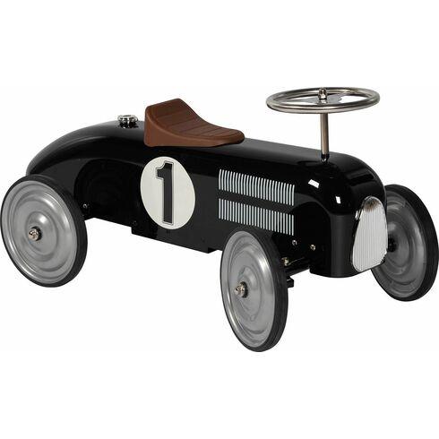Odrážedlo – odstrkovadlo černá závodnička, gumová kola - Goki
