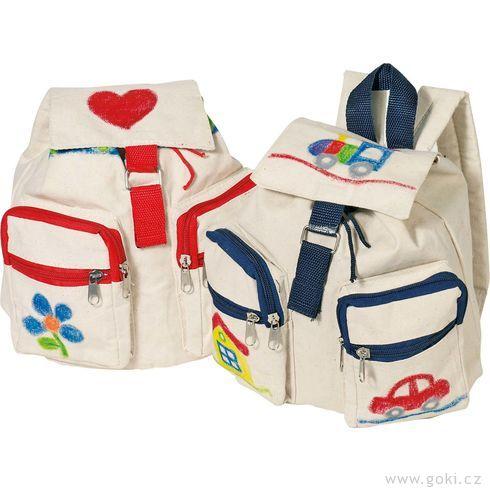 Bavlněný batoh kvymalování – Červený amodrý - Goki