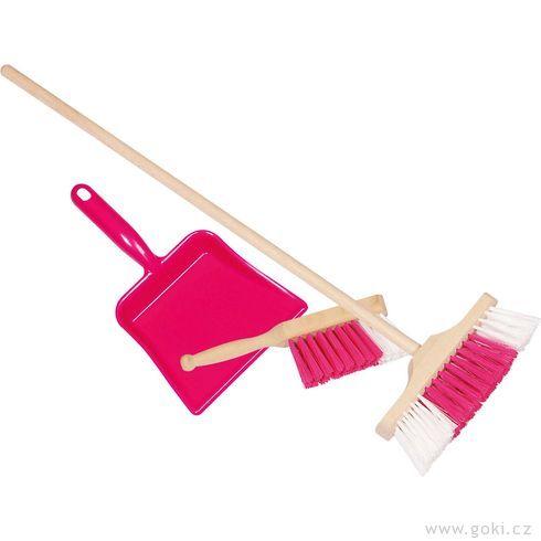 Smetáček, lopatka asmeták – růžová dětská sada - Goki