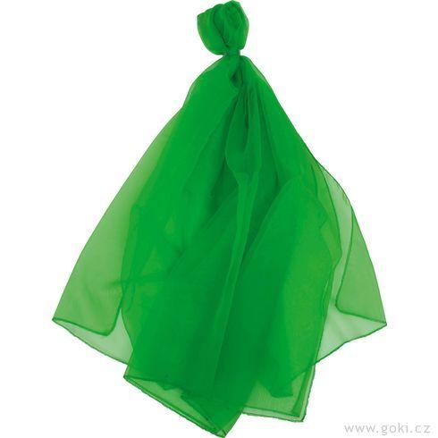 Šifonový šátek – zelený 140x140cm - Goki