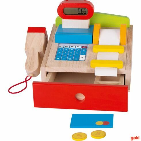 Dětská dřevěná multifunkční pokladna +scanner, kreditní karta, kalkulačka, displej - Goki