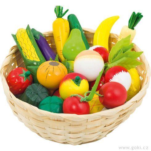 Dětský krámek – ovoce azelenina vkošíku, 23ks - Goki