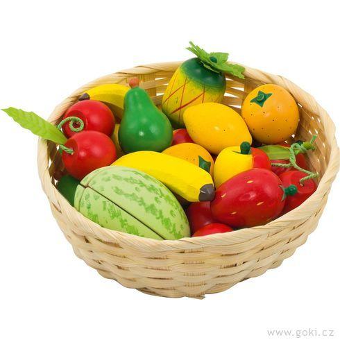 Dětský krámek – ovoce vkošíku, 23ks - Goki