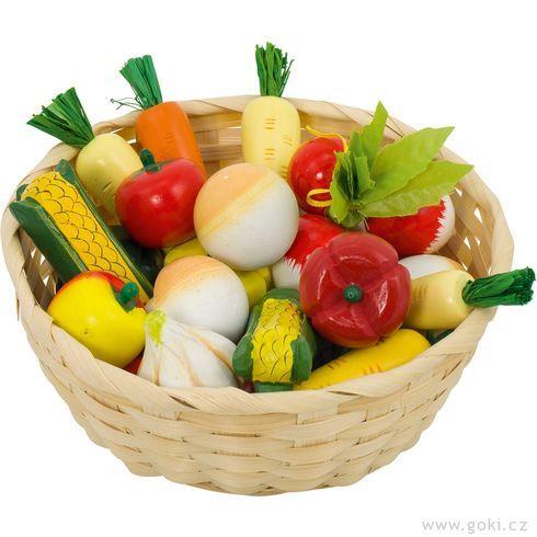 Dětský krámek – zelenina vkošíku, 17ks - Goki