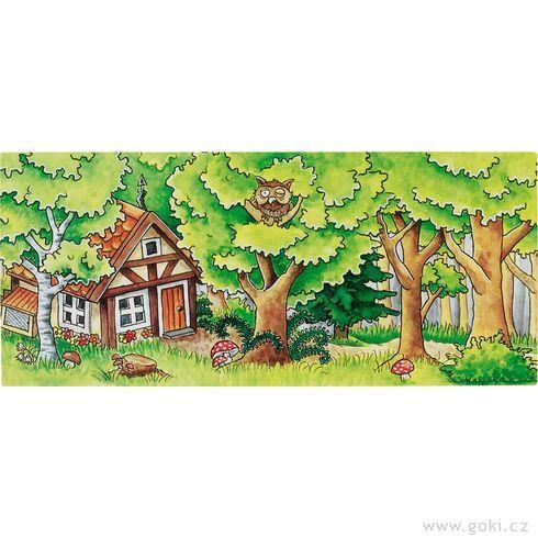 Dřevěné divadlo proprstové maňásky včetně kulis - Goki