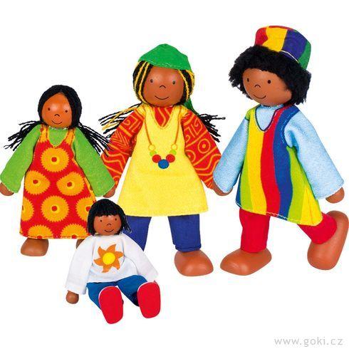 Panenky dodomečku – africká rodina, 4ks - Goki