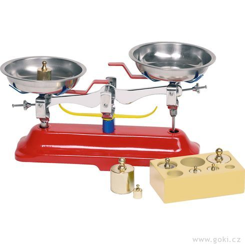 Dětská kovová váha + 7kovových těžítek - Goki