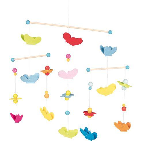 Závěsný kolotoč – motýlci akvětiny (dřevo +filc) - Goki