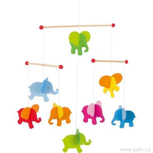 Dřevěný závěsný kolotoč – Sloni - Goki