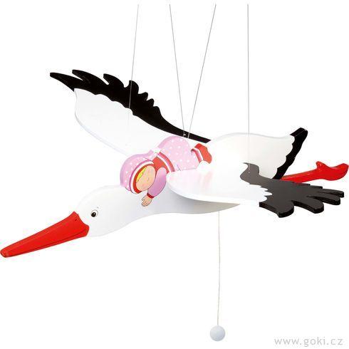 Čáp arůžové miminko – létající závěsná dekorace - Goki