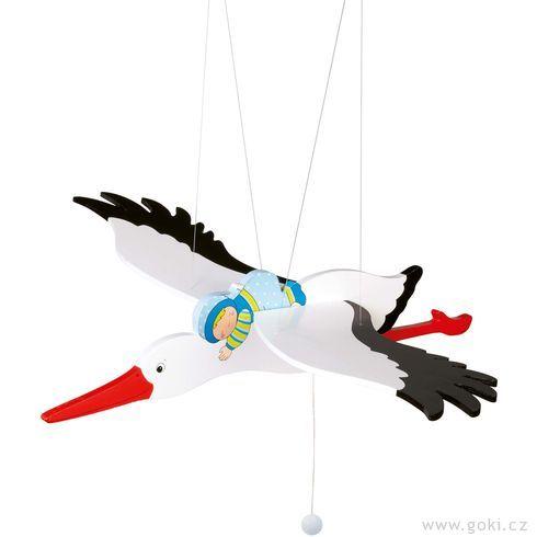 Čáp amodré miminko – létající závěsná dekorace - Goki
