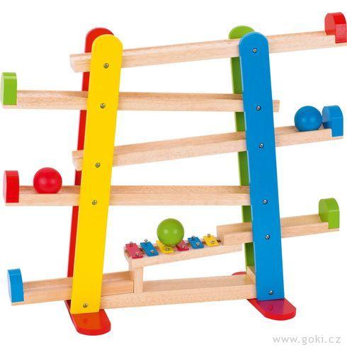 Dřevěná kuličková dráha sxylofonem - Goki