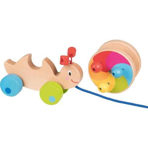 Duhový šnek – tahací hračka zedřeva - Goki