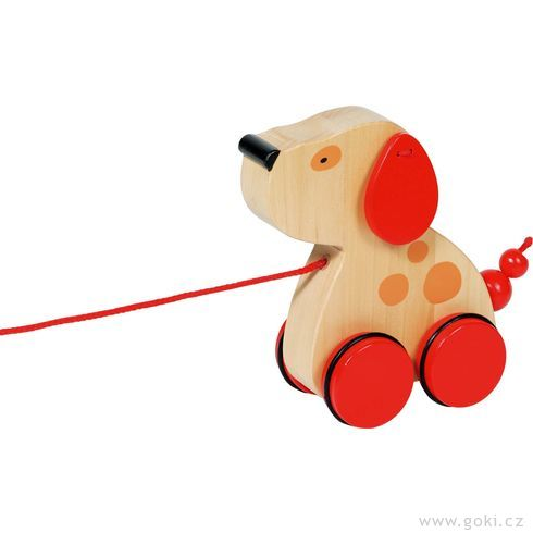 Dřevěná tahací hračka – Pejsek Luna - Goki