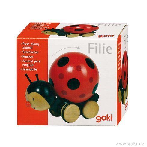 Dřevěná hračka beruška stočící sekuličkou - Goki
