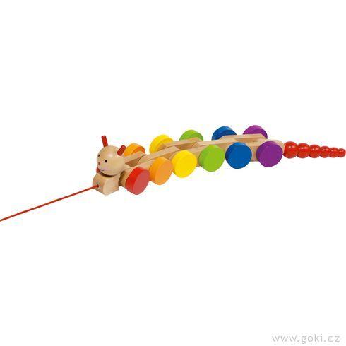 Dřevěná tahací hračka – Housenka Nila - Goki