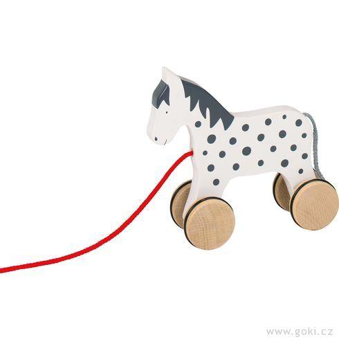 Dřevěná tahací hračka – Strakatý bělouš Alvah - Goki