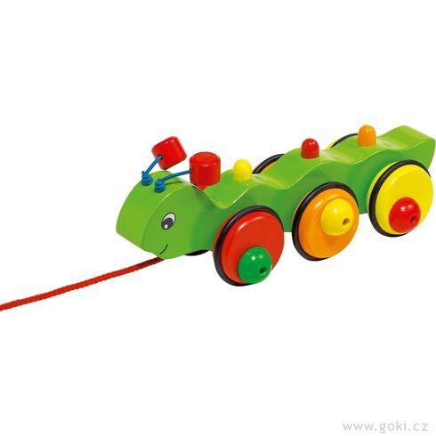 Dřevěná tahací hračka – Housenka Wilma - Goki
