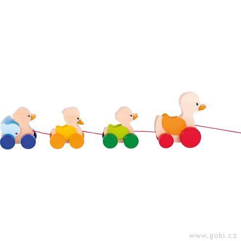 Dřevěná tahací hračka – Kačenky - Goki