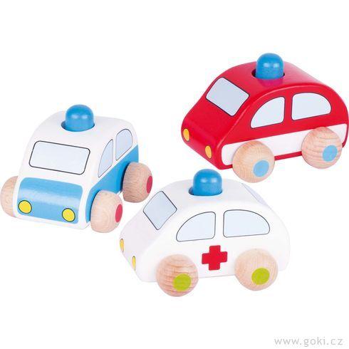 Dřevěné autíčko shoukačkou – policie, hasiči azáchranka - Goki