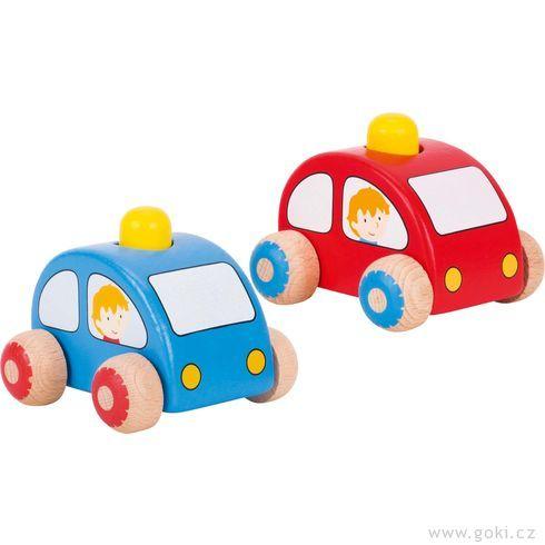 Dřevěné autíčko doruky sežlutou houkačkou - Goki