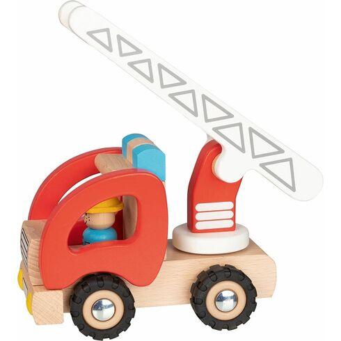 Hasiči sežebříkem ařidičem, dřevěné autíčko - Goki