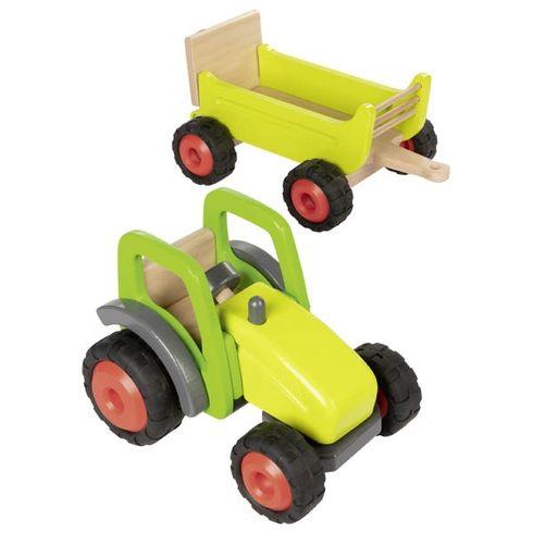Zelený traktor svlečkou, 45cm - Goki