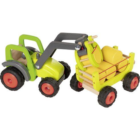 Traktor sčelním nakladačem avlečkou sena, 55cm - Goki