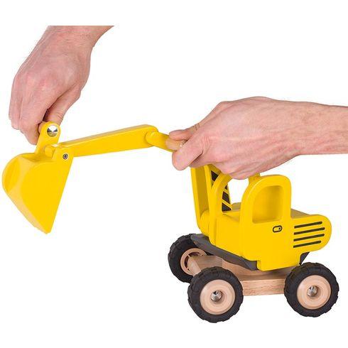 Žlutý bagr zedřeva sgumovými koly - Goki