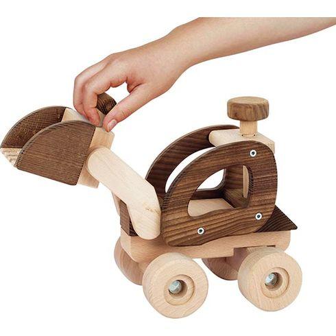 Dřevěné auto bagr, přírodní dřevo – Goki nature - Goki