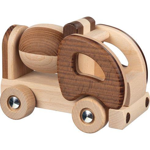 Dřevěné autíčko – míchačka, přírodní dřevo - Goki