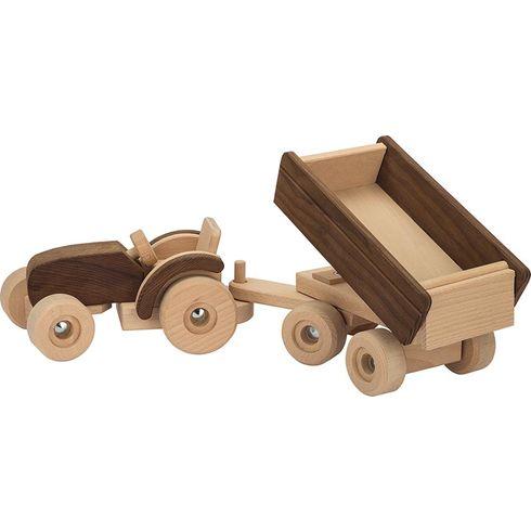 Dřevěný traktor svlečkou – Goki nature - Goki