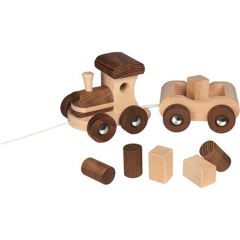 Tahací dřevěný vláček Vancouver + 6kostek, 26cm - Goki