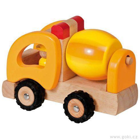 Autíčko – míchačka, dřevěná hračka prokluky - Goki