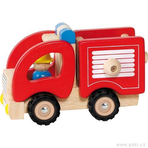 Autíčko – hasiči, dřevěná hračka prokluky - Goki