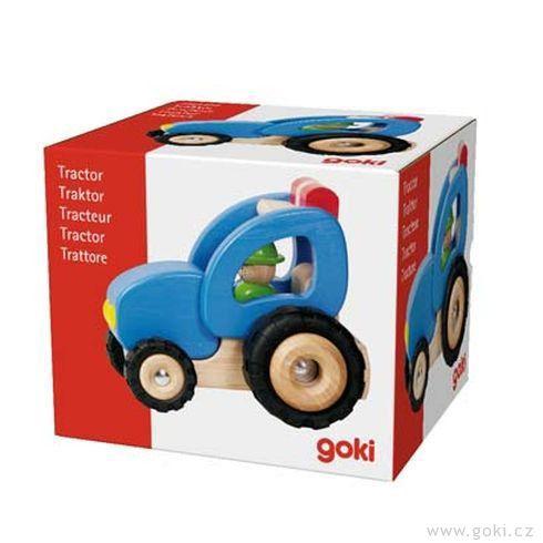 Dřevěný traktor, hračka prokluky - Goki