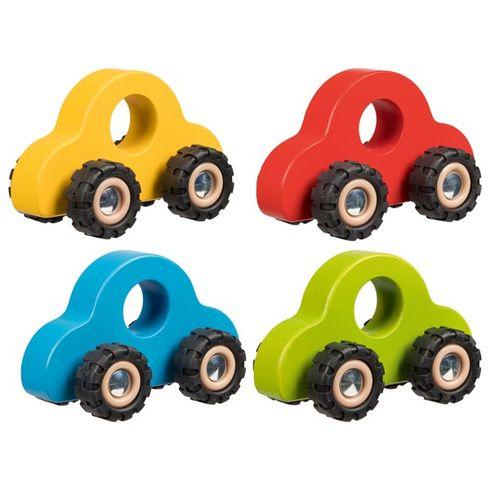Barevné dřevěné autíčko sgumovými koly - Goki