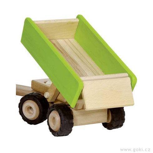 Zelený traktor svlečkou, dřevěná hračka prokluky - Goki