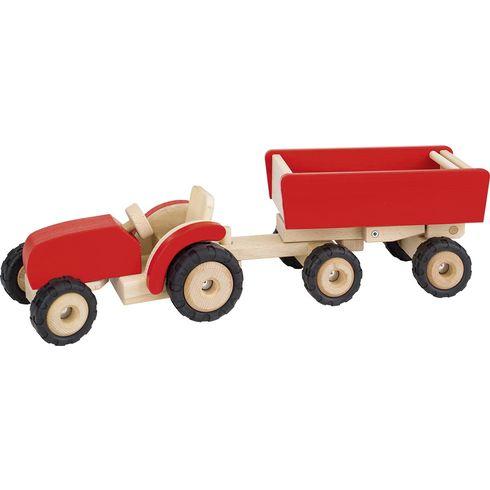 Červený traktor svlečkou, dřevěná hračka prokluky - Goki
