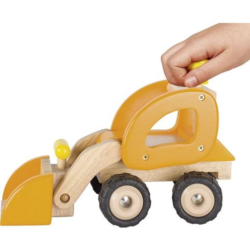 Dřevěné auto oranžový bagr - Goki
