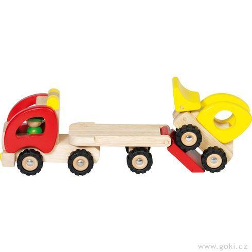 Dřevěné tahací auto snakladačem - Goki