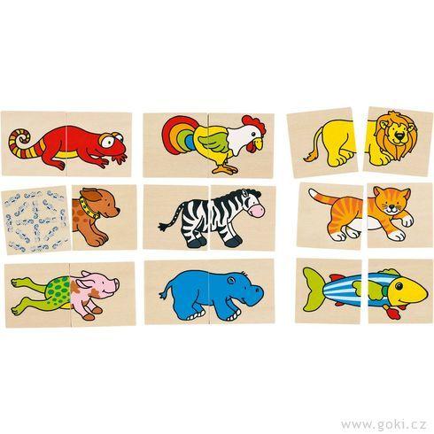 Pexeso apuzzle vjednom – Veselá zvířátka - Goki