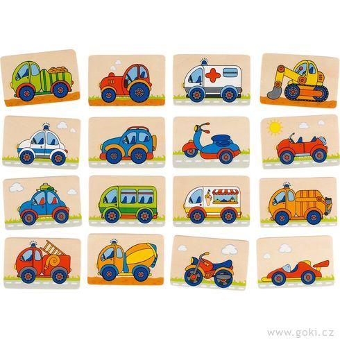 Dřevěné pexeso – dopravní prostředky, 32díly - Goki
