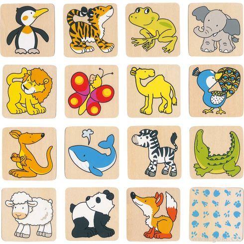 Dřevěné pexeso – Zvířátka, 32díly - Goki
